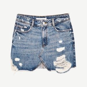 Zara Distressed Denim Mini Skirt